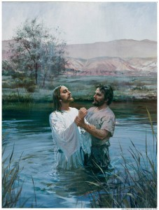 Jesus Christ being baptized by John the Baptist.