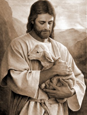Jesus holding a lamb in His arms
