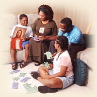A Mormon woman teaching a lesson about Christ during Family Home Evening with her children.