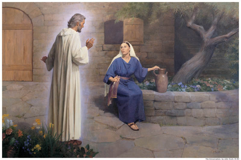 A painting of the Angel Gabriel visiting Mary.
