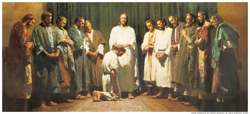 A painting of Jesus Christ ordaining the twelve apostles by the laying on of hands.