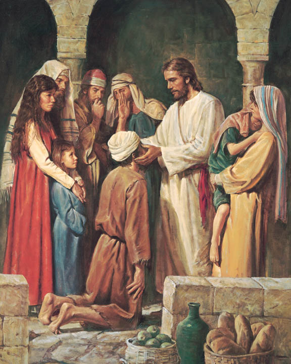 A painting depicting Jesus healing a blind man in a crowd.