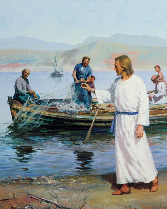 The painting by Harry Anderson depicting Christ calling Peter and Andrew on the shore.