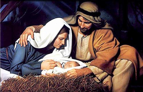 Weihnachten: Maria und Josef schauen auf das Baby, Jesus Christus.