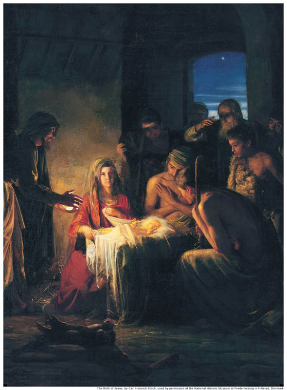 A painting of the birth of Jesus Christ; Nativity scene.