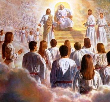 A painting depicting Jesus volunteering to be our Savior at the Council in Heaven.