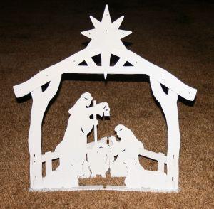 Christmas nativity woodwork art.