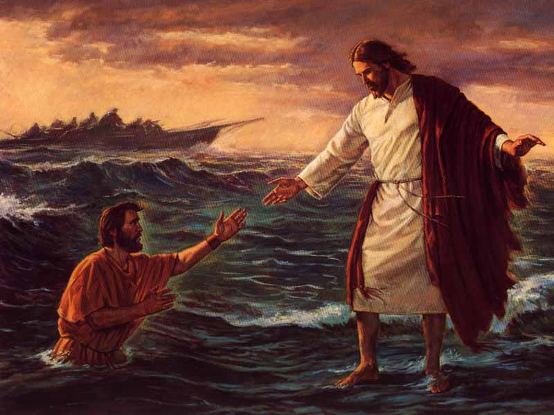 Jesus and Peter walking on the water