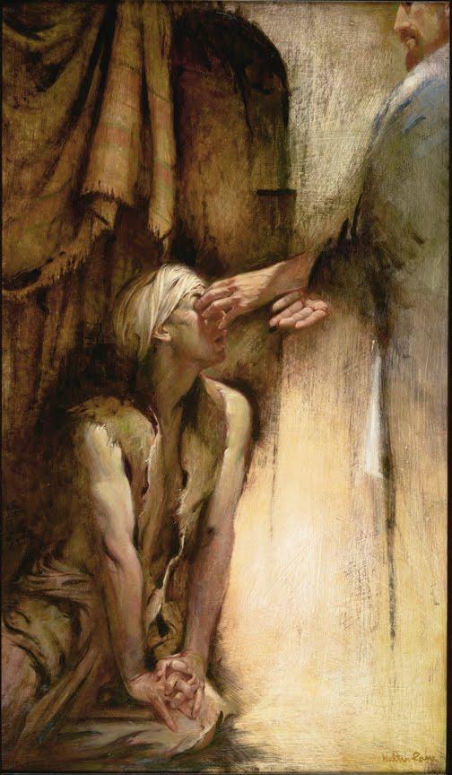 Blind man being healed by Jesus