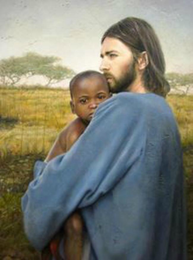 Jesus holding a baby boy