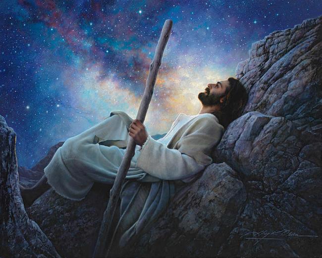 Jesus looking into the night sky