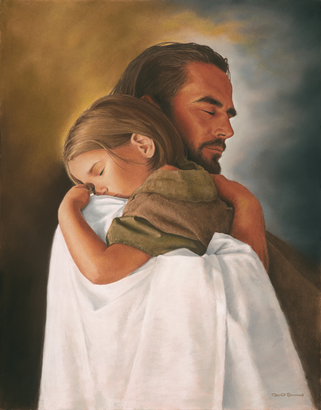 Jesus Christ holding child in a hug